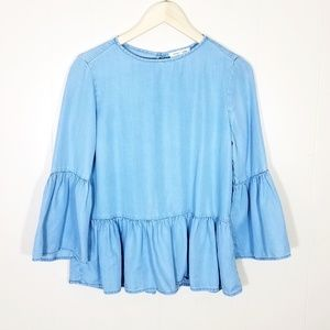 Beach Lunch Lounge Chambray Ruffle Bell Sleeve Top